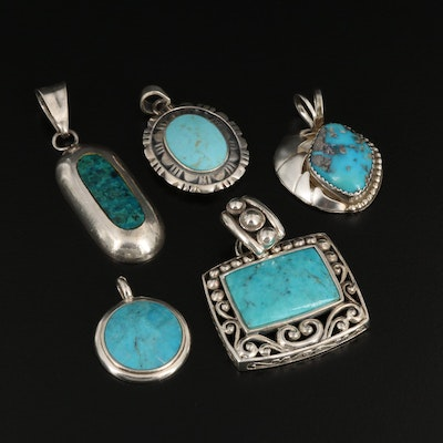Sterling Silver Turquoise and Eilat Stone Pendants