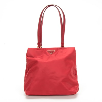 Prada Red Tessuto Nylon Shoulder Bag with Leather Straps