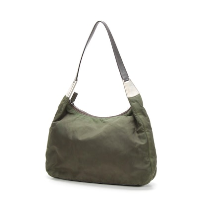 Prada Shoulder Bag in Nylon and Leather