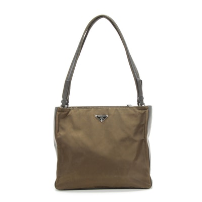 Prada Shoulder Bag in Olive Tessuto Nylon and Grey Leather
