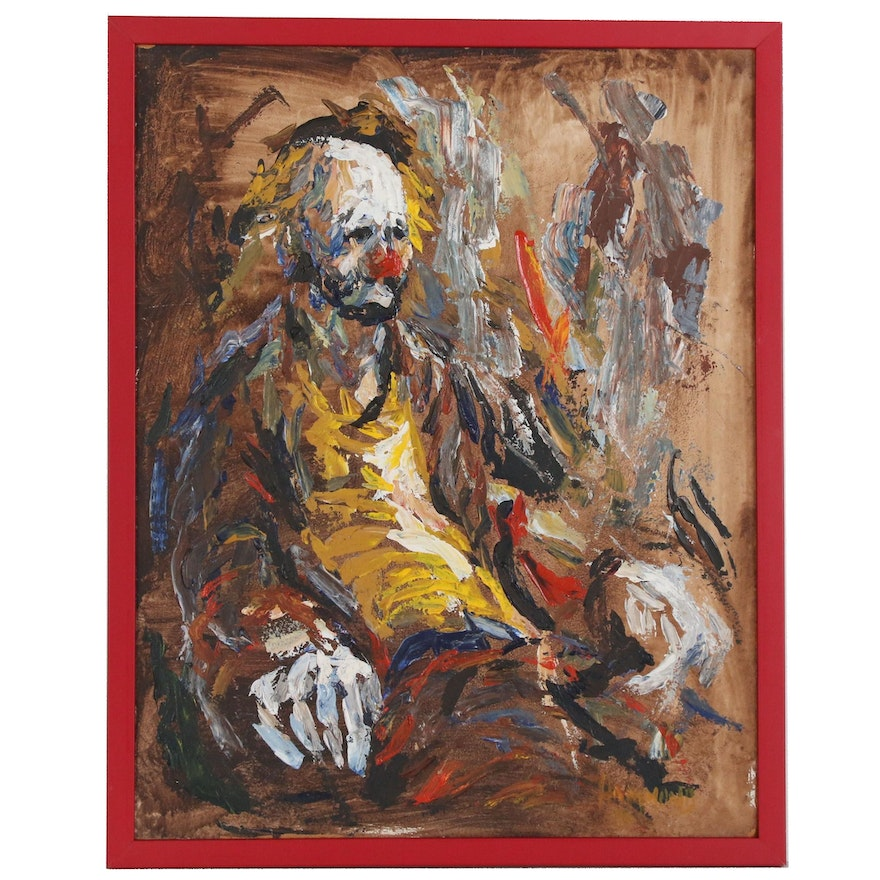 Clown Oil Painting, 1976