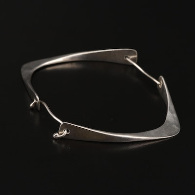 Sterling Silver Contemporary Style Bangle Bracelet