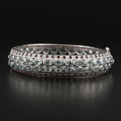 Sterling Silver Aquamarine, Rhodolite Garnet, Hinged Bangle Bracelet