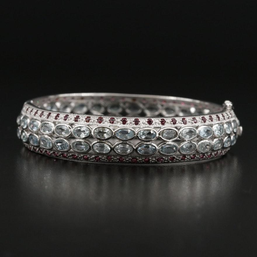 Sterling Silver Aquamarine, Rhodolite Garnet, Hinged Bangle Bracelet