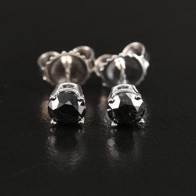 14K 1.02 CTW Black Diamond Solitaire Stud Earrings