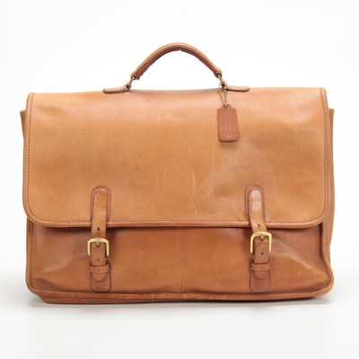 Coach Tan Leather Briefcase, Vintage