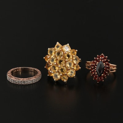 Sterling Silver Citrine, Garnet and Diamond Rings