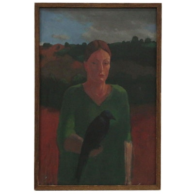 Folk Art Oil Painting of a Woman and Crow, Mid to Late 20th Century