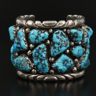 Western Style Sterling Silver Turquoise Nugget Cuff Bracelet