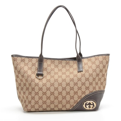Gucci Tote Bag in GG Canvas and Brown Leather with Contrast Stitching