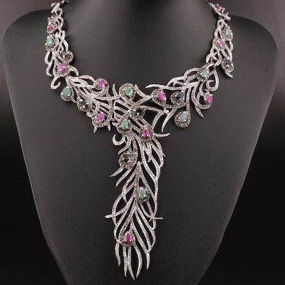 Sterling Silver Ruby, Sapphire, and Marcasite Feather Motif Bib Necklace