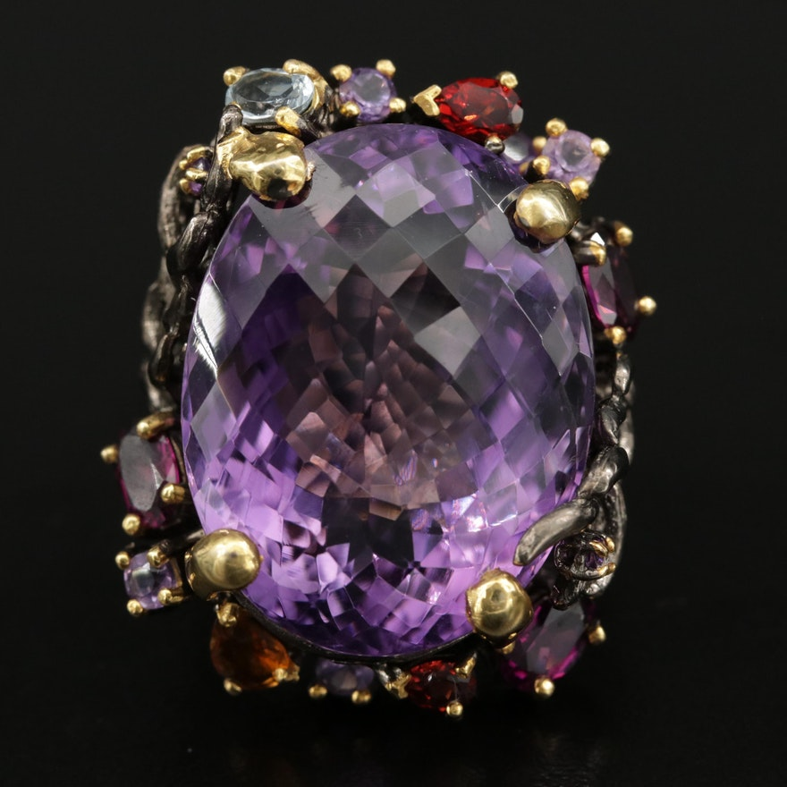 Sterling Silver Amethyst, Garnet, and Topaz Ring Featuring Natural Motif
