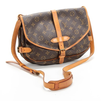 Louis Vuitton Paris Saumur Messenger Bag in Monogram Canvas and Vachetta Leather