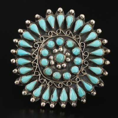 Western Style Sterling Silver Turquoise Brooch