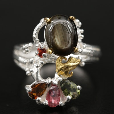 Sterling Silver Black Star Sapphire, Tourmaline, and Garnet Ring