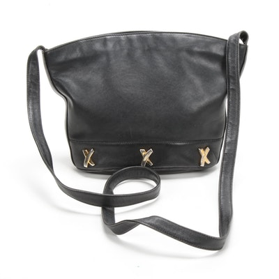 By Paloma Picasso Black Leather Shoulder Bag