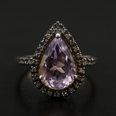 Sterling Silver Pear Shaped Amethyst and Diamond Ring