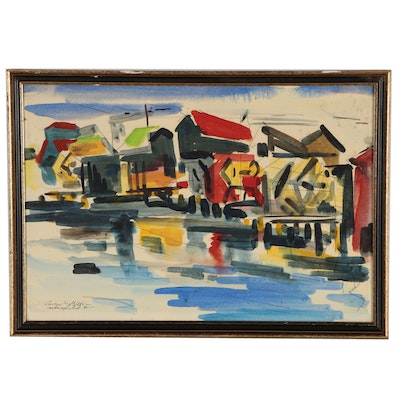 George Martin Biddle Watercolor Painting of an Abstract City Scene