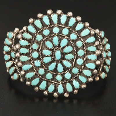 Western Sterling Turquoise Cuff Bracelet