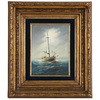 Konstantinos Sofianopoulos Nautical Oil Painting, Mid-Late 20th Century