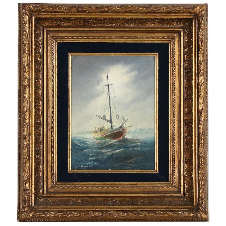 Konstantinos Sofianopoulos Nautical Oil Painting, Mid-Late 20th Century