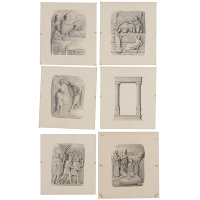 Biblical Scene Graphite Drawings, Mid 20th Century