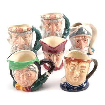 "Miniature Royal Doulton ""Don Quixote"", ""Neptune"", and Other Character Mugs"