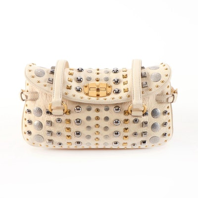 Miu Miu Ivory Crinkled Leather Studded Shoulder Bag