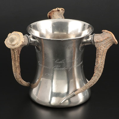 Cincinnati Chamber of Commerce Antler-Handled Sterling Loving Cup, 1906