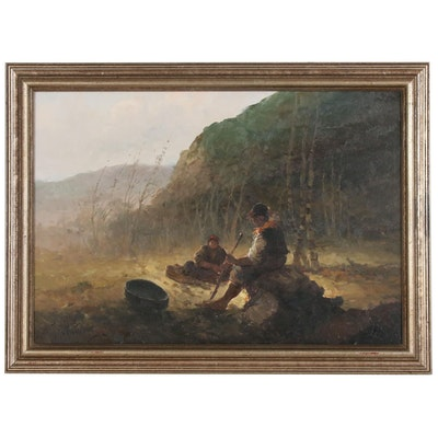 Pastoral Genre Scene Oil Painting, Late 20th Century