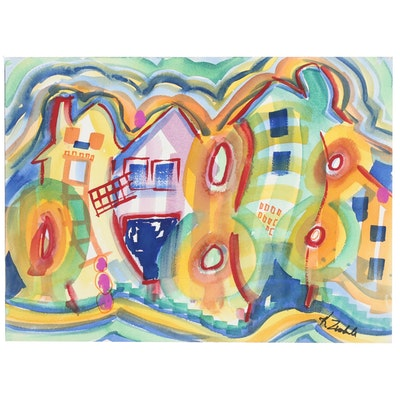 Kathleen Zimbicki Abstract Watercolor Painting of Architectural Landscape