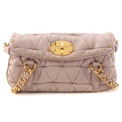 Miu Miu Quilted Mauve-Beige Studded Leather Shoulder Bag