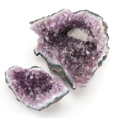 Prismatic Amethyst with Druzy Quartz Specimens