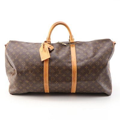 Louis Vuitton Bandolier 60 Travel Duffel in Monogram and Vachetta Leather