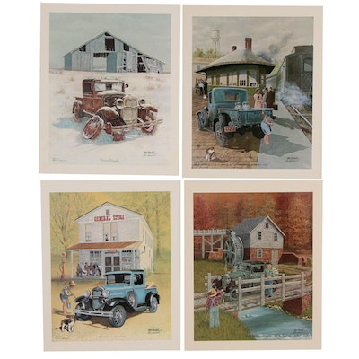 Wes Kendall Offset Lithograph Series of Classic Ford Trucks, 1979