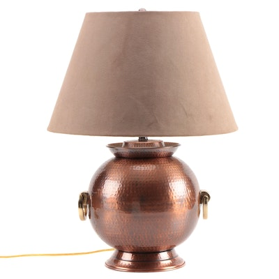 Frederick Cooper Hammered Metal Lamp with Suedecloth Shade