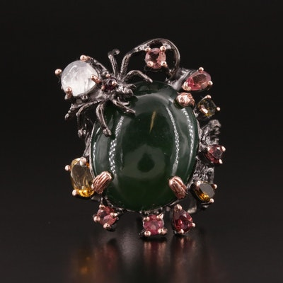 Oxidized Sterling Silver Nephrite and Gemstone Ring with Spider Motif