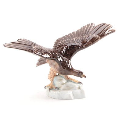 "Herend ""Eagle on Rock"" Porcelain Figurine, Mid to Late 20th Century"