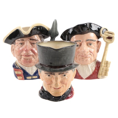 "Royal Doulton ""Gaoler"", ""Guardsman"" and Other Earthenware Character Jugs"