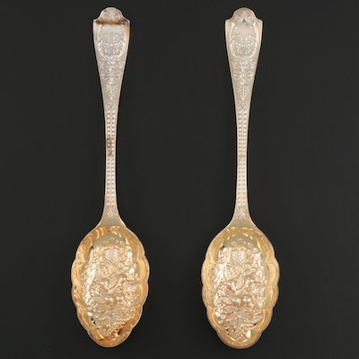 Pair of American Silver Plate Berry Spoons, Early 20th Century