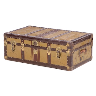 "Friedberg-Grunauer Co. ""Anchor Brand"" Metal Steamer Trunk, Early 20th Century"
