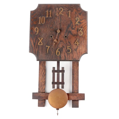 National Clock Co. Arts and Crafts Mission Oak Wall Clock