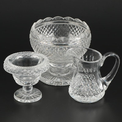 Cut Crystal Décor and Tableware Including Waterford Crystal Bowl and Creamer