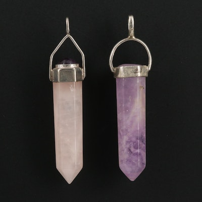 Sterling Amethyst and Rose Quartz Pendants