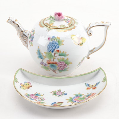 "Herend ""Queen Victoria"" Porcelain Teapot and Crescent Salad Plate"