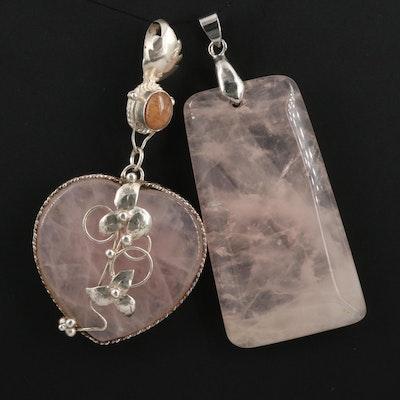 Sterling Rose Quartz and Feldspar Heart Pendant with Rose Quartz Pendant