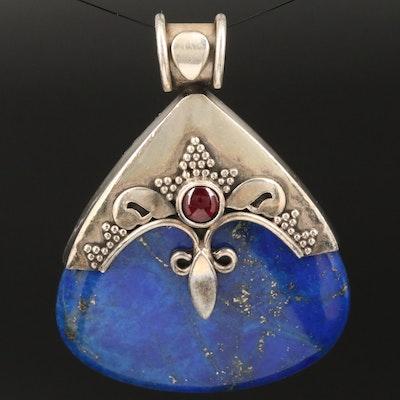 Sterling Silver Lapis Lazuli and Garnet Pendant
