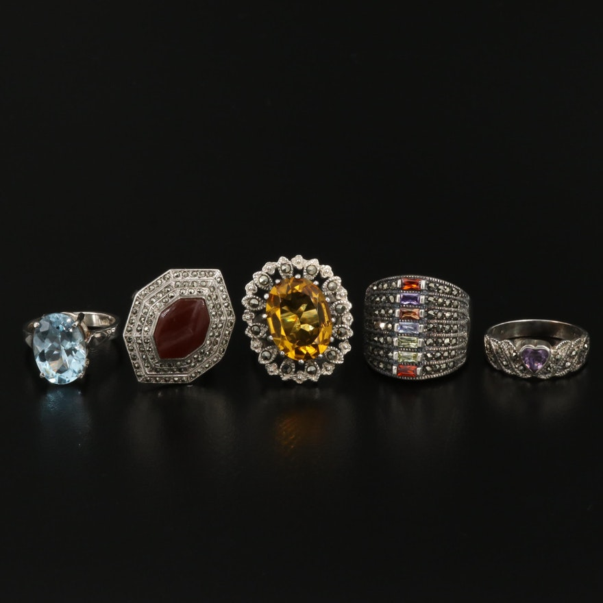 Sterling Silver Gemstone Ring Selection Including Topaz, Sardonyx, and Amethyst