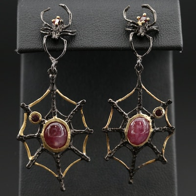 Oxidized Sterling Silver, Garnet and Star Ruby Drop Earrings with Spider Motif