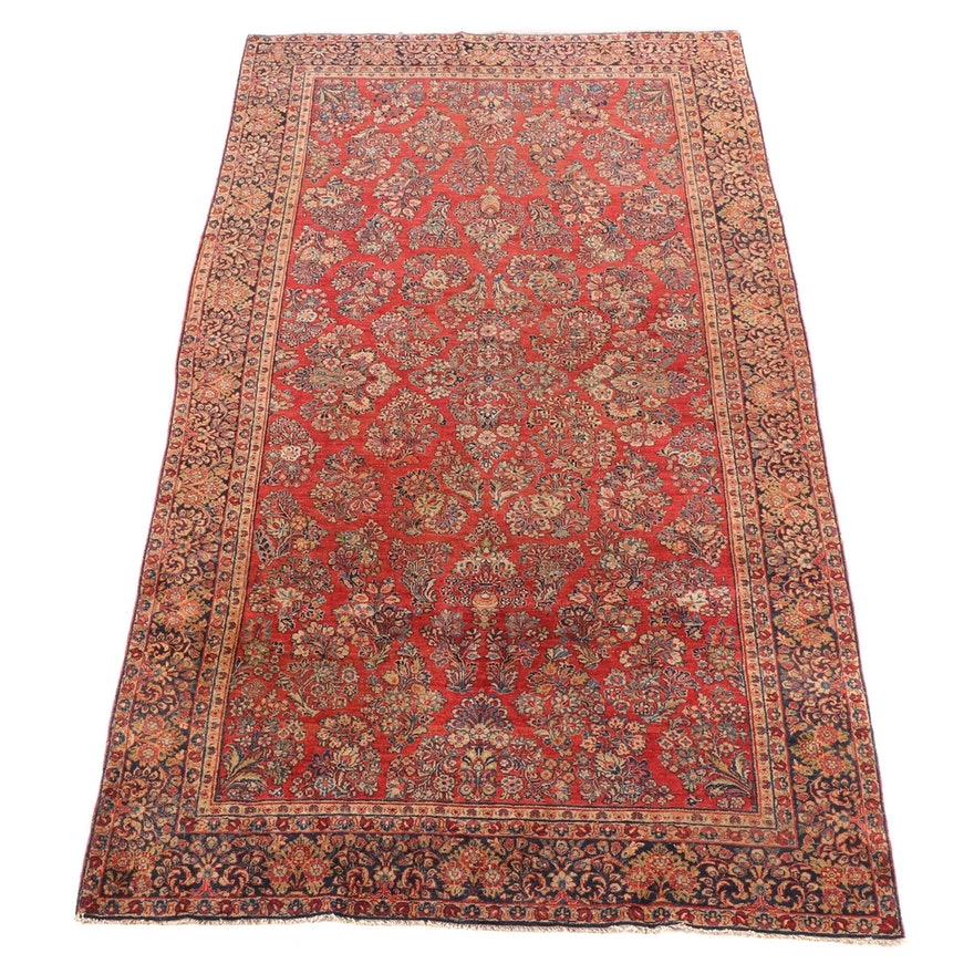 6'8 x 12'3 Hand-Knotted Persian Sarouk Wool Rug